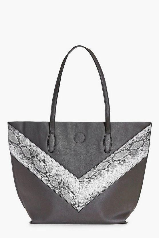Amy Oversized Faux Snake Panel Day Bag