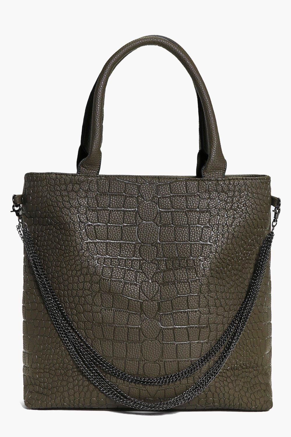 Mock Croc Chain Detail Day Bag khaki