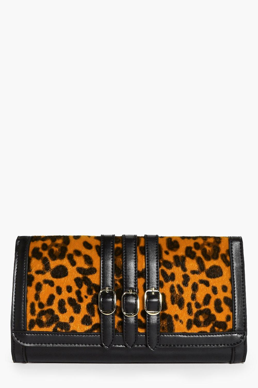 Katie Faux Leopard Pony Clutch Bag