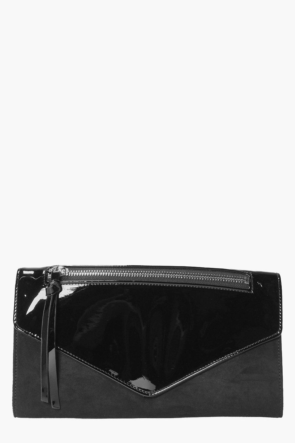 Patent And Suedette Clutch Bag black
