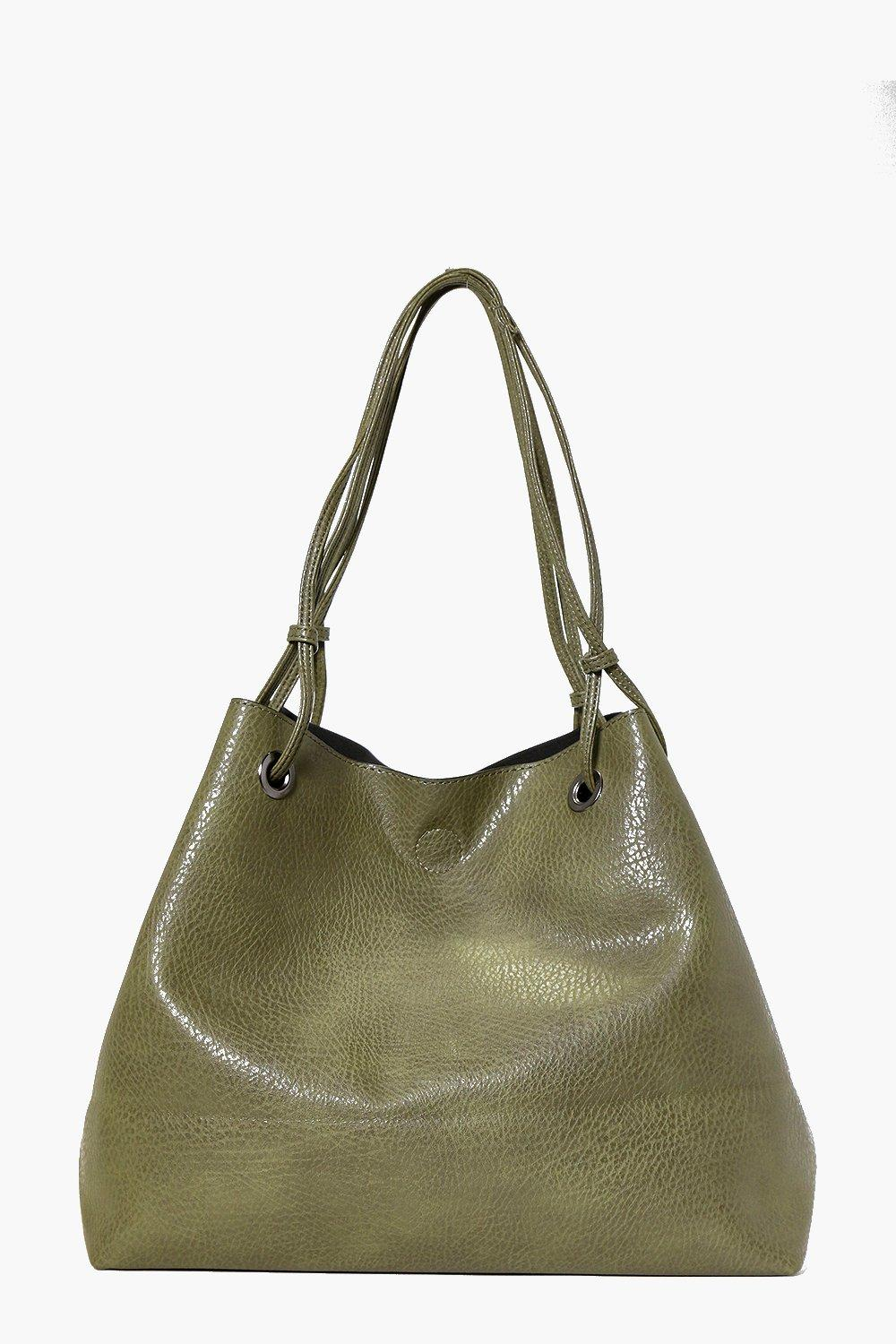 Eyelet Detail Shopper Day Bag khaki