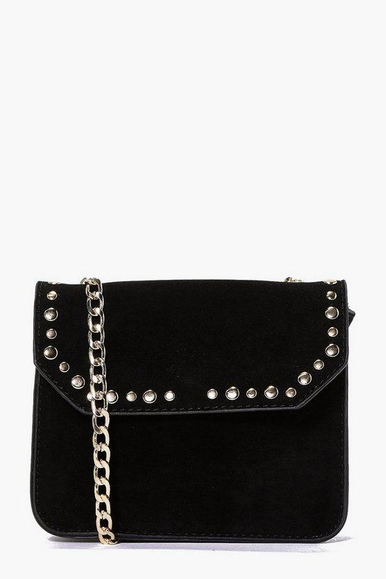 Neve Suedette Stud Chain Cross Body Bag