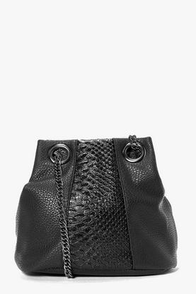 Zoe Faux Snake Panel Chain Strap Duffle Bag