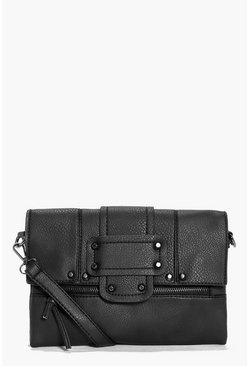 Macy Stud And Zip Detail Cross Body Bag