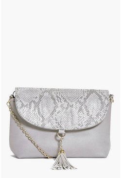 Orla Faux Snake Tassel Detail Cross Body Bag