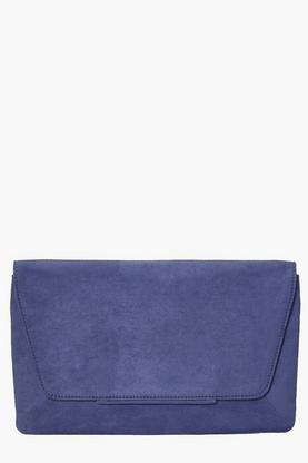 Kara Suedette Metal Detail Clutch Bag