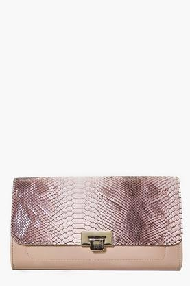 Lyla Mock Croc Lock Detail Clutch Bag
