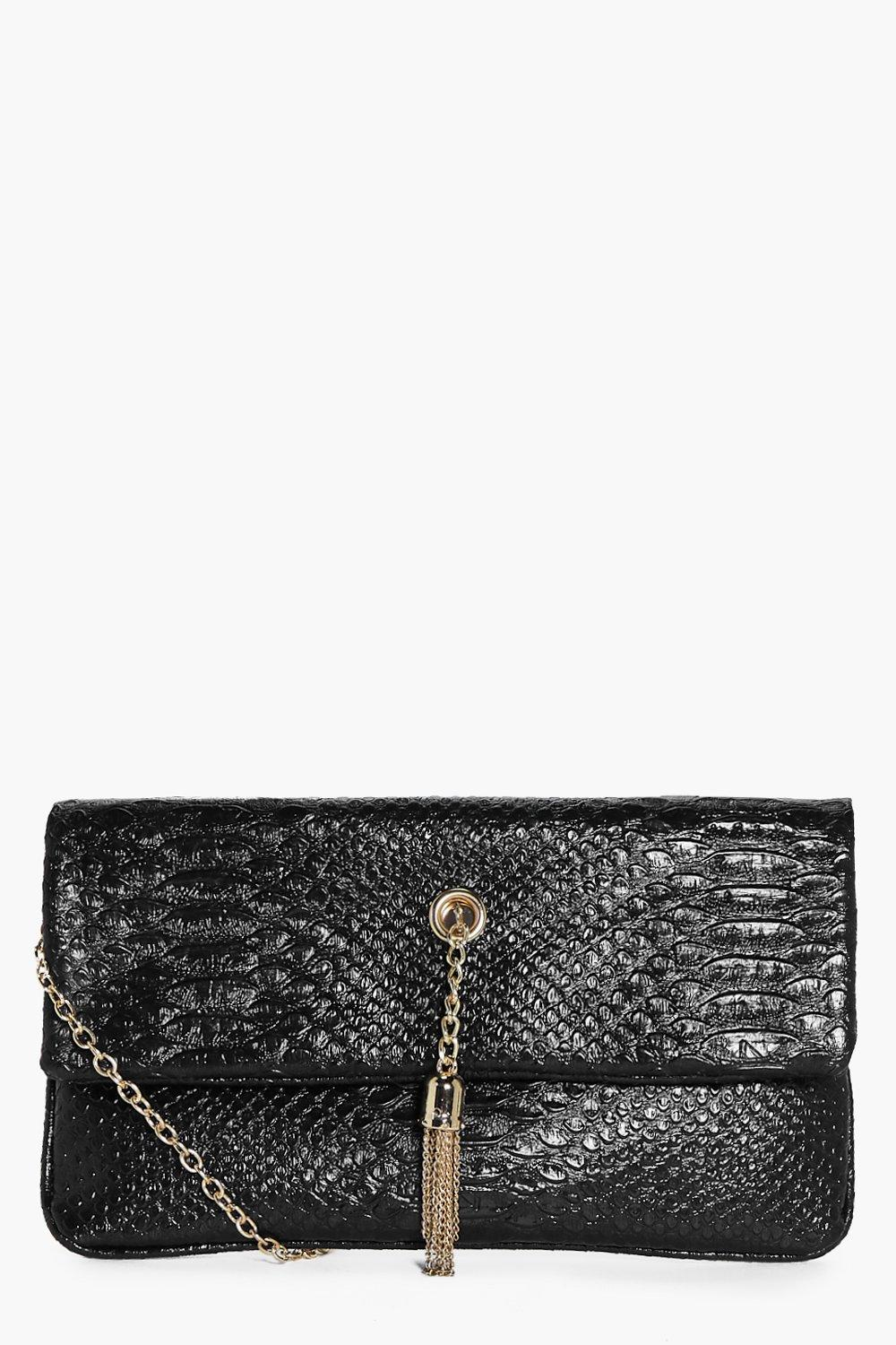 Anya Chain Tassel Mock Croc Cross Body Bag