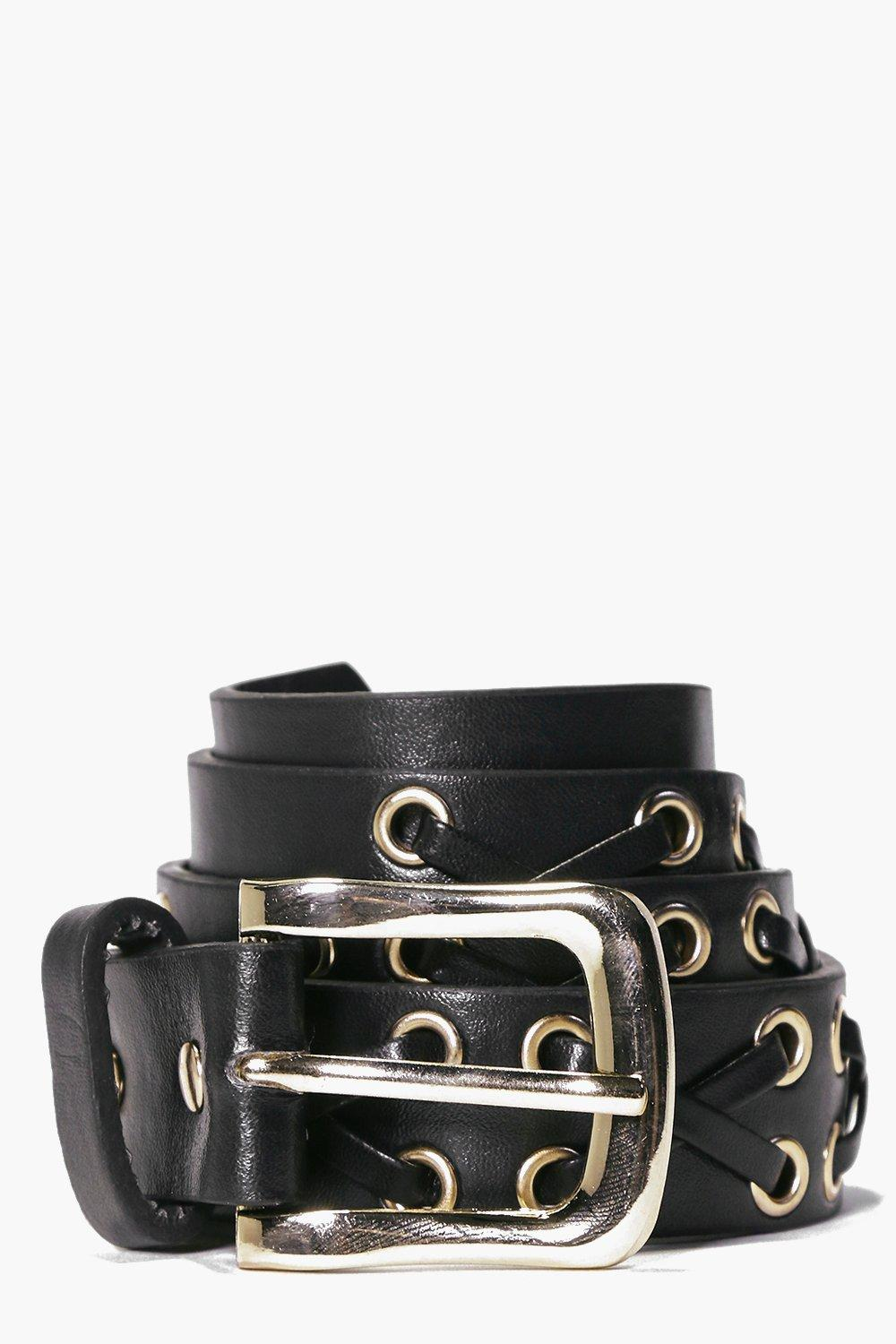 Nancy Lace Up Eyelet Skinny Belt