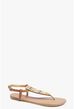 Evie Wooden Bead Detail Thong Sandal