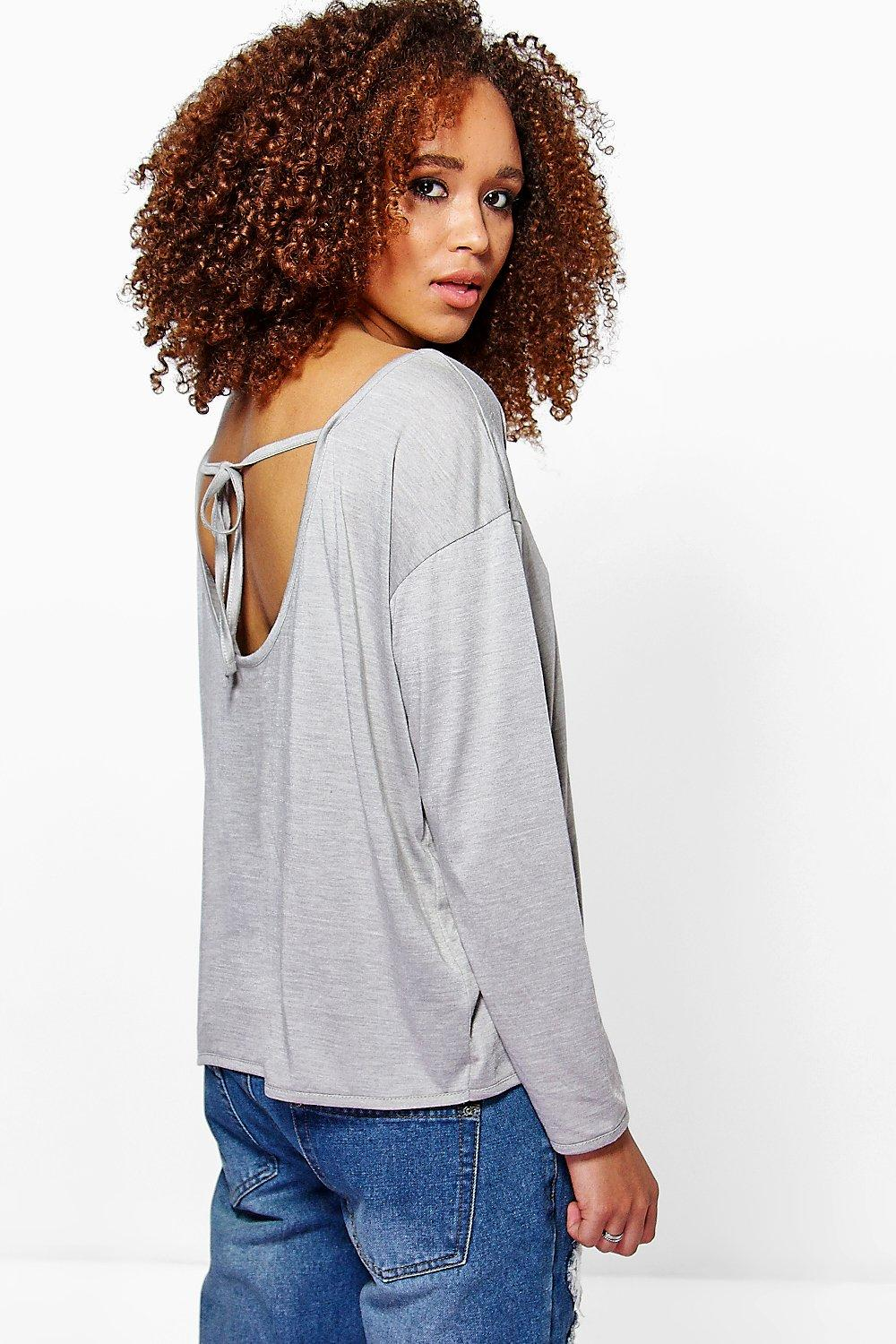 Sophia Oversized Tie Back Long Sleeve Tee