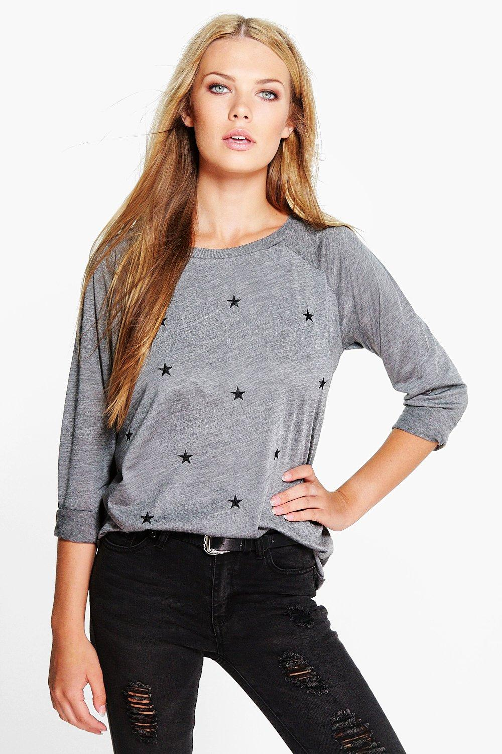 Lacey Star Embroidered Slash Neck Sweat