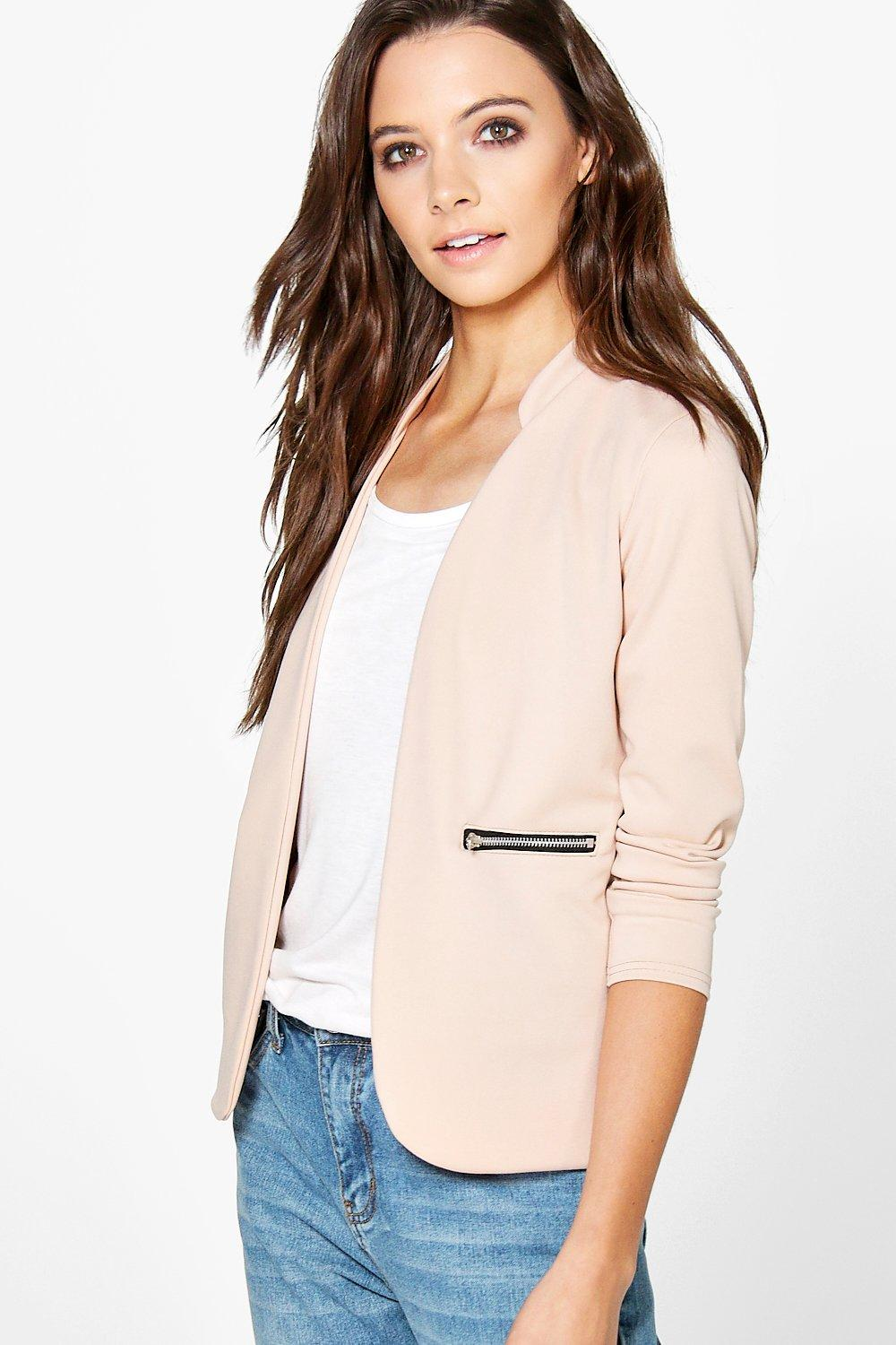 Nicole Zip Pocket Collarless Blazer