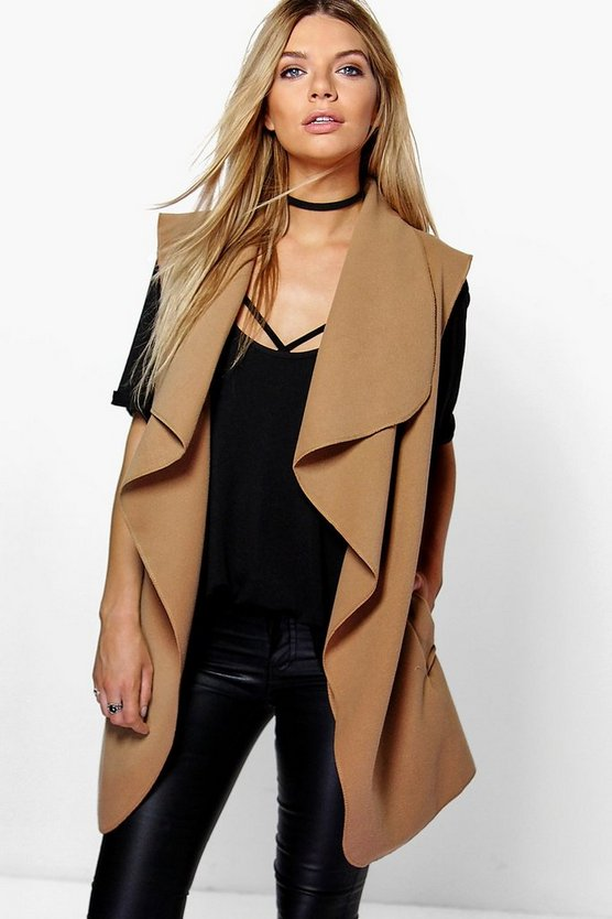 Abigail Sleeveless Belted Waterfall Coat