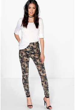 Ashley Camo Print Tube Jeans With Knee Rips