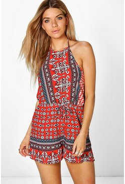 Ria High Neck Printed Playsuit