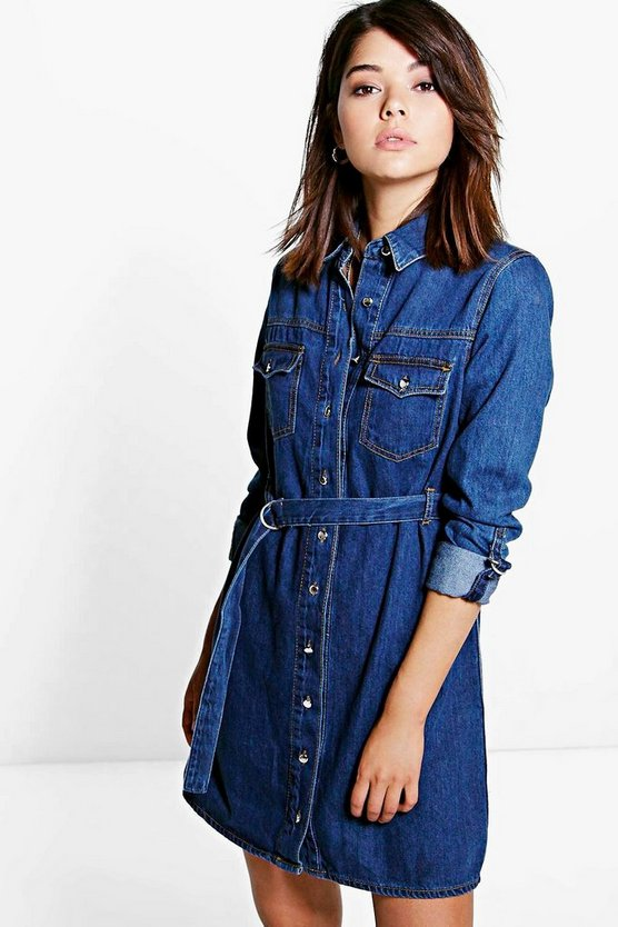 Amy Belted Button Front Denim Dress