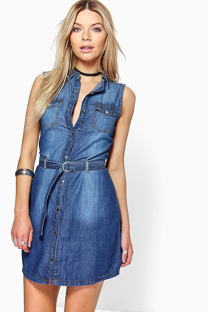 Jen Belted Button Front Denim Dress