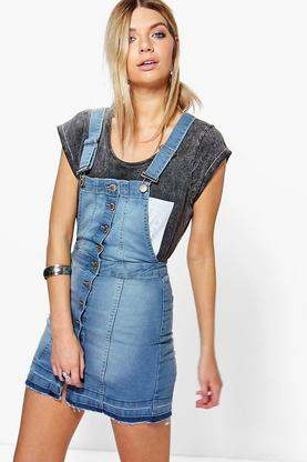 Hannah Button Front Denim Pinafore