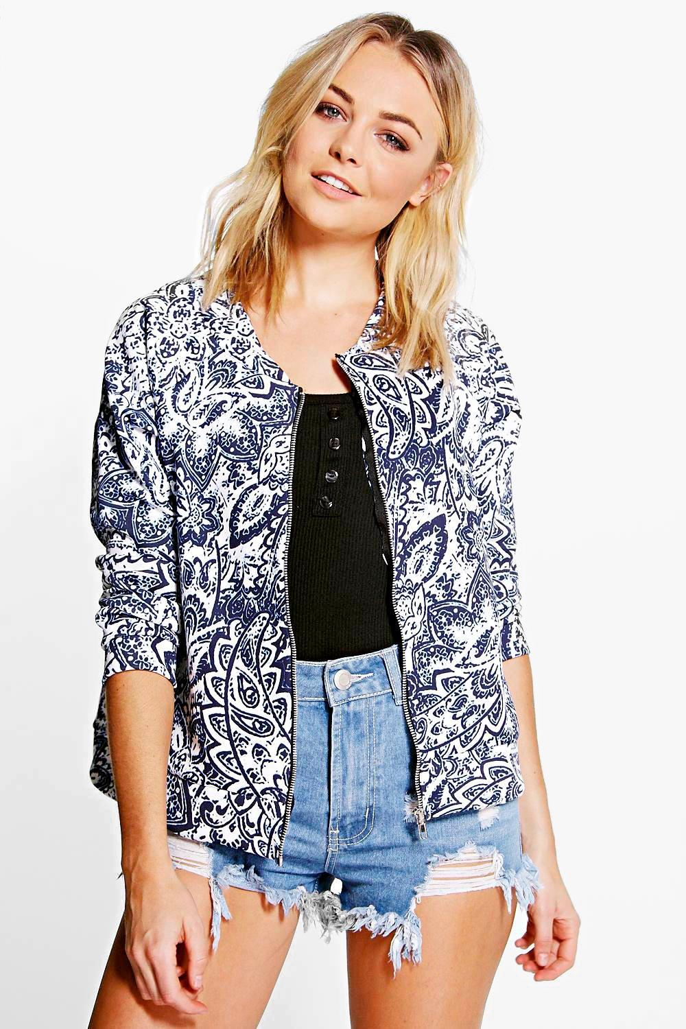 China Print Bomber Jacket blue