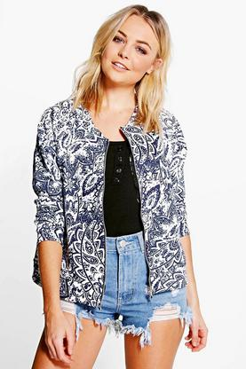 Amber China Print Bomber Jacket