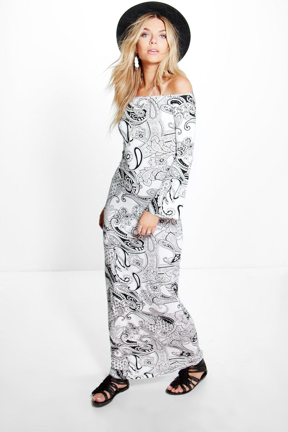 Maddie Paisley Printed Off Shoulder Maxi Dress