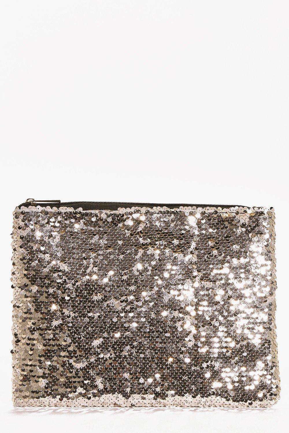 All Over Sequin Clutch Bag gold