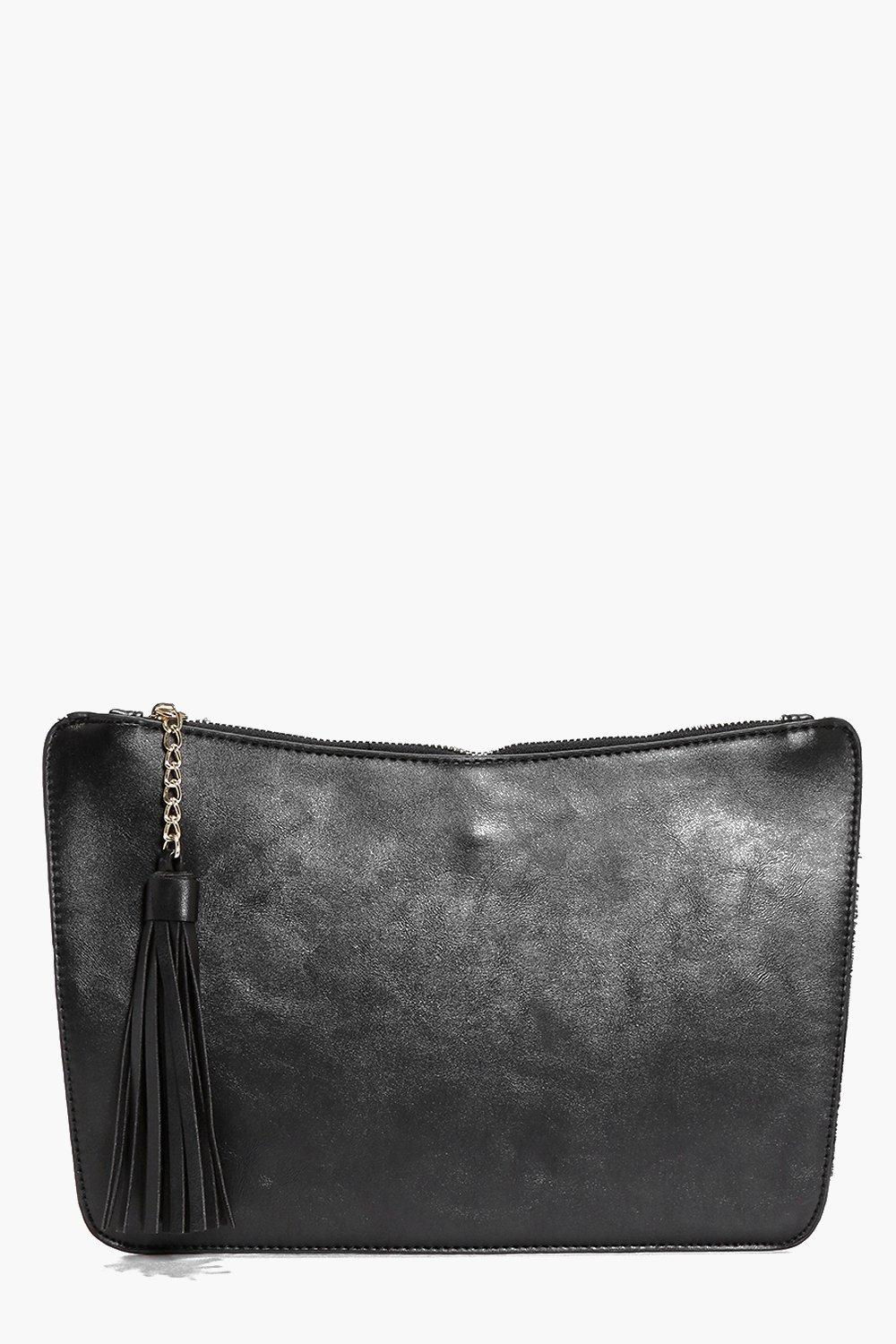 Curve Zip Tassel Clutch Bag black