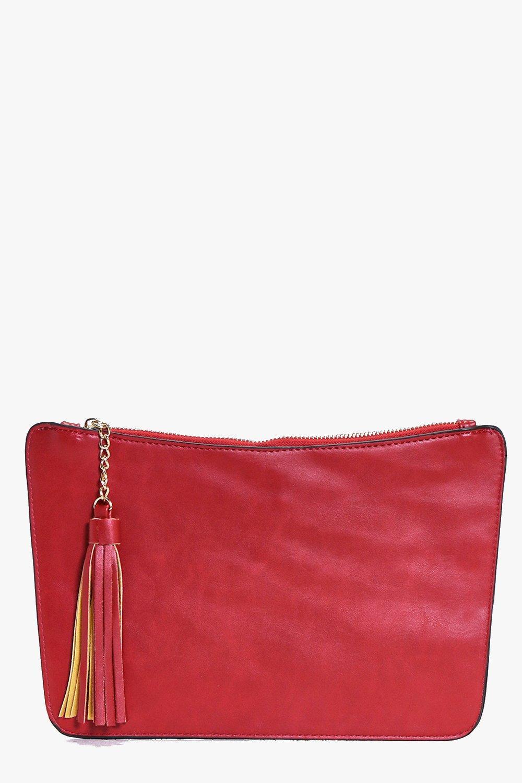 Curve Zip Tassel Clutch Bag red