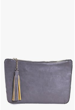 Alisha Curve Zip Tassel Clutch Bag