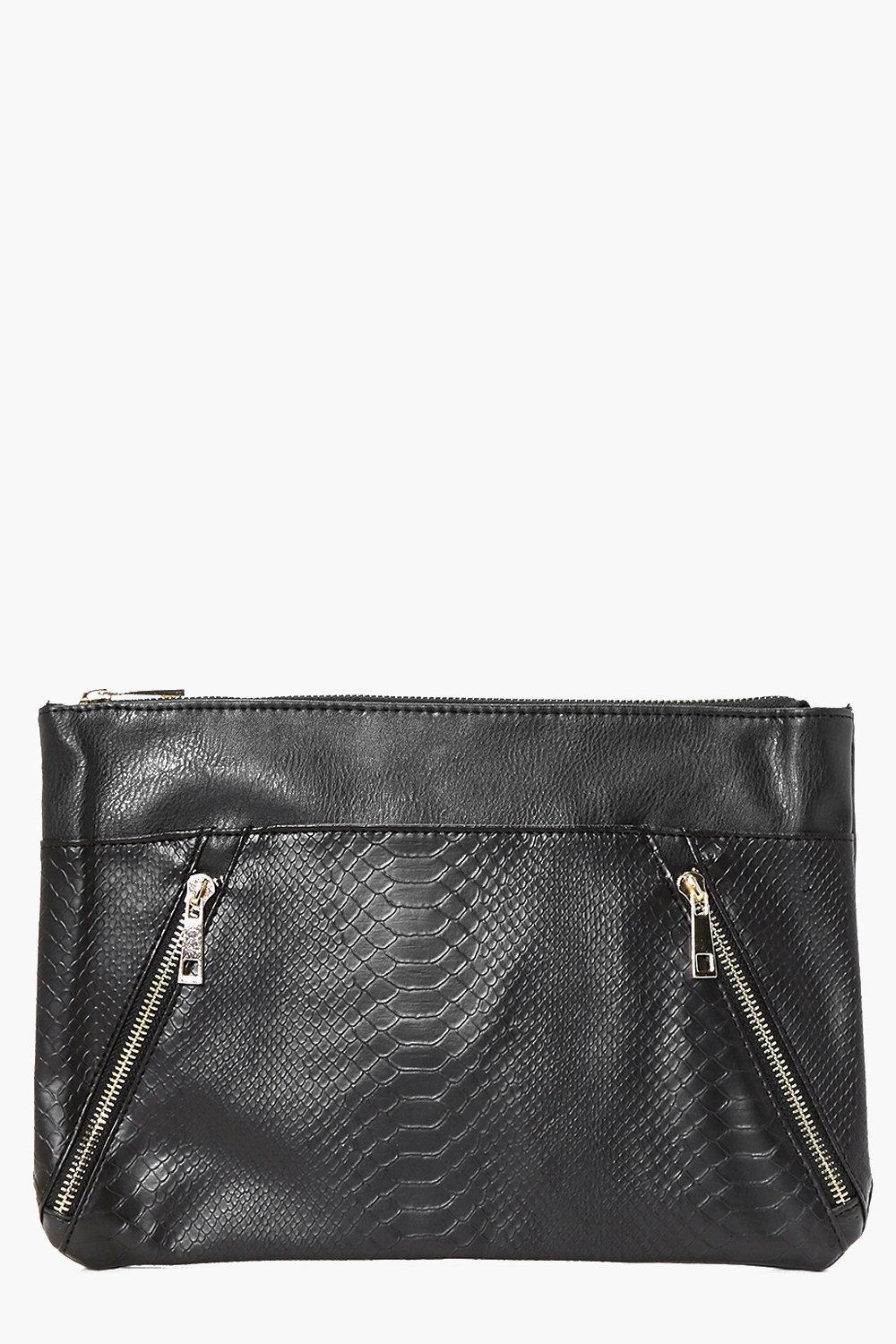 Zip Detail Contrast Panel Clutch Bag black