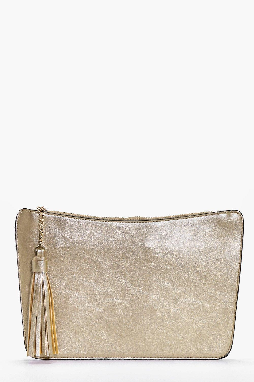 Curve Zip Tassel Clutch Bag gold