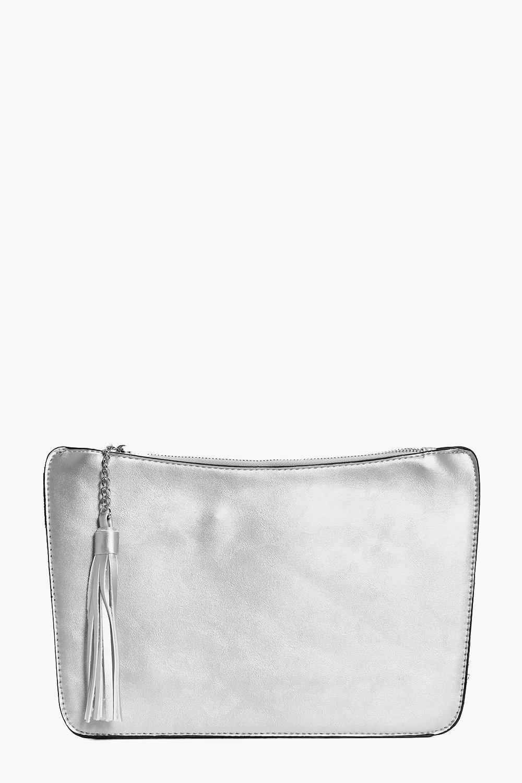 Curve Zip Tassel Clutch Bag silver
