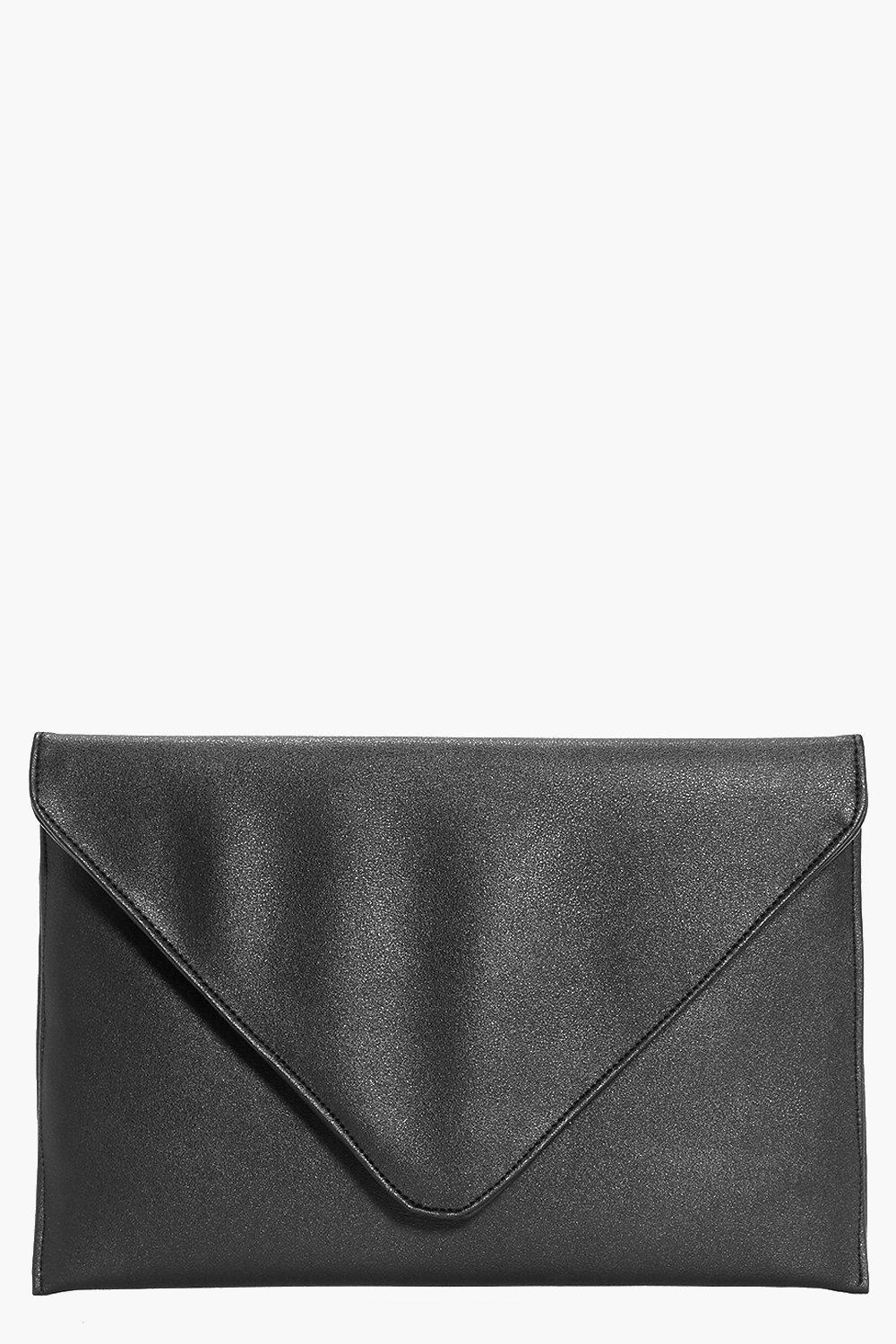 Fold Over Envelope Clutch Bag black