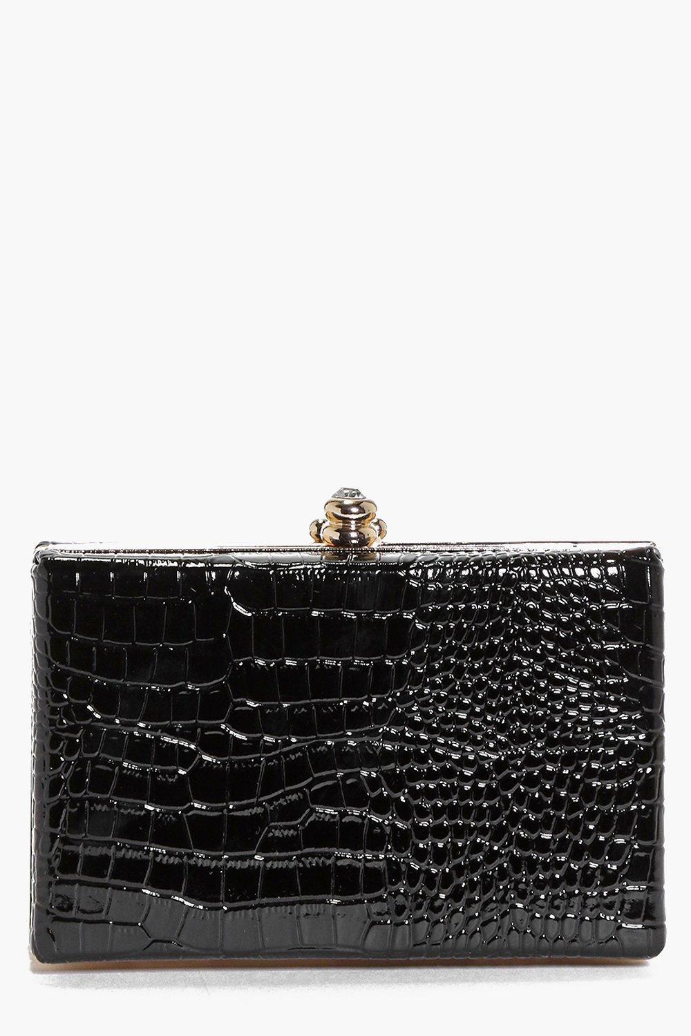 Anya Mock Croc Box Clutch Bag
