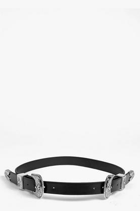 Sarah Star Western Double Buckle Belt