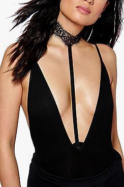 Faye Eyelash Lace Choker Body Harness