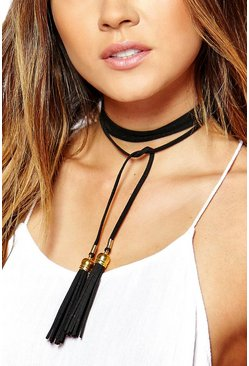 Bella Wrap Cord With Metal Tip Choker