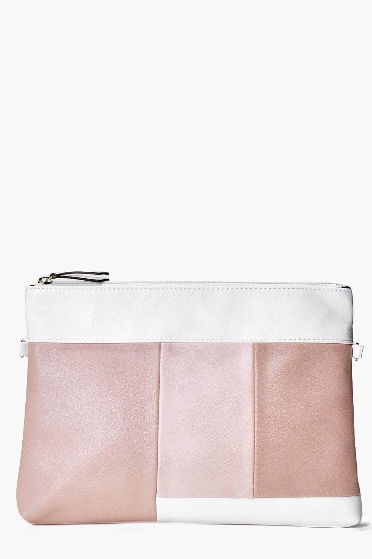 Colour Block Clutch Bag nude