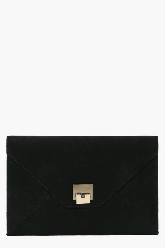 Zoe Suedette Metal Detail Envelope Clutch Bag
