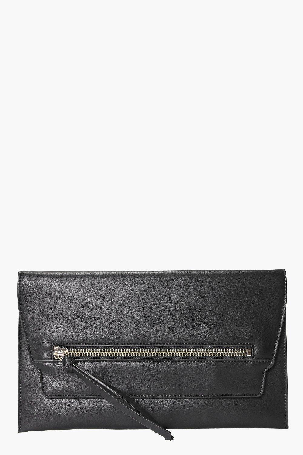 Zip Front Clutch Bag black
