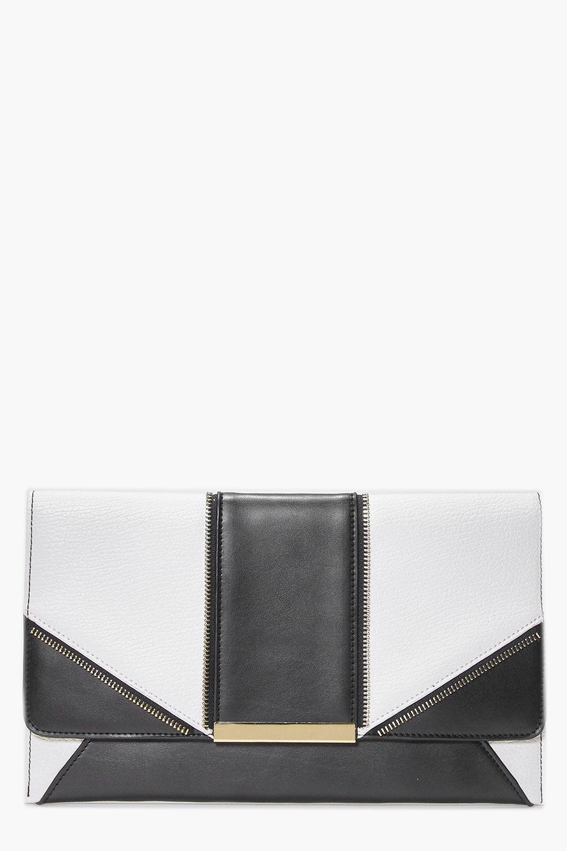 Metal Detail Panelled Clutch Bag black