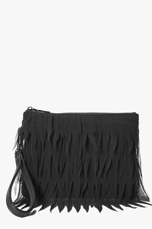 Chiffon Fringed Clutch Bag black