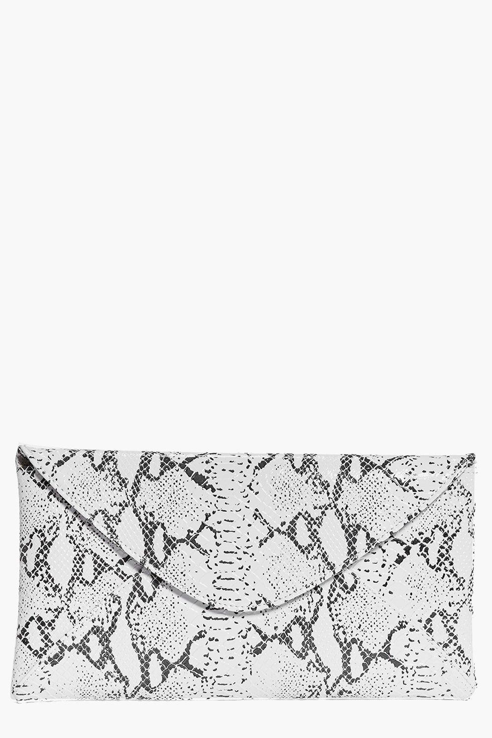 Marble Effect Clutch Bag white