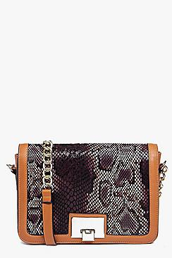 Mia Faux Snake Metal Lock Cross Body Bag