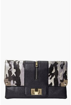 Julia Camouflage And Metal Detail Clutch Bag