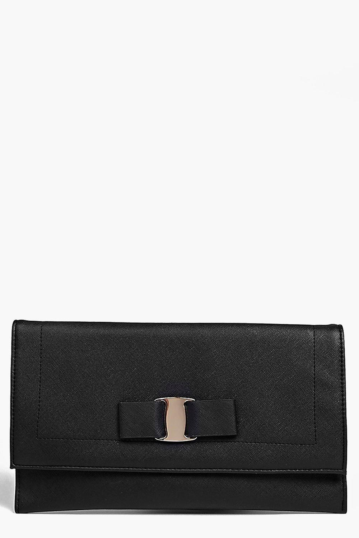 Bow Front Clutch Bag black