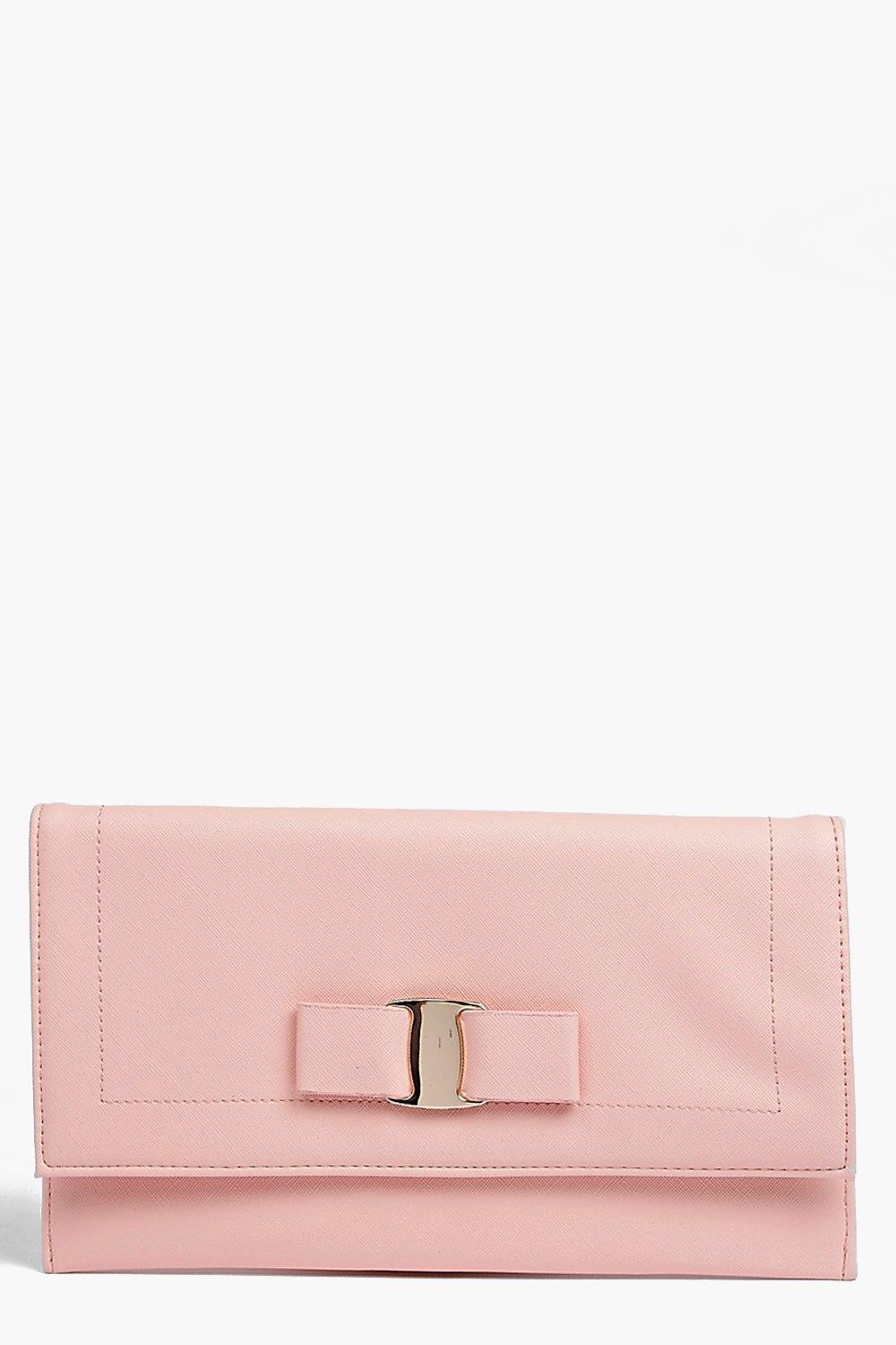 Bow Front Clutch Bag blush