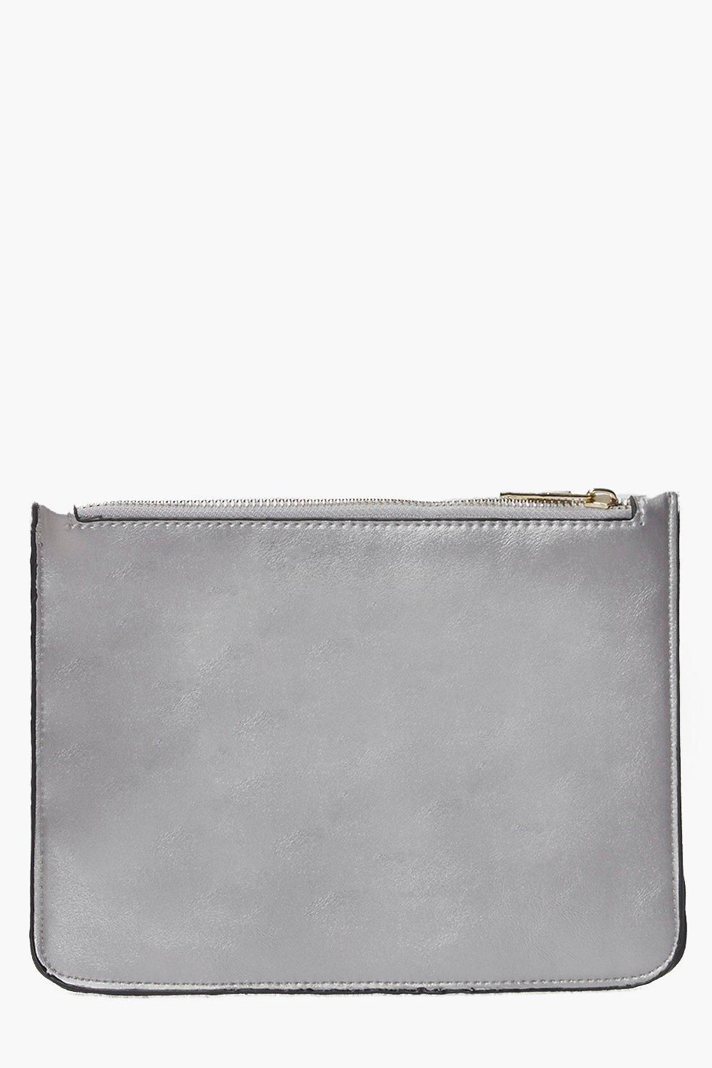 Violet Zip Top Clutch Bag