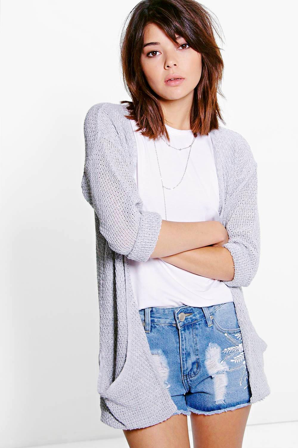 Loose Knit Slouchy Pocket Cardigan  silver
